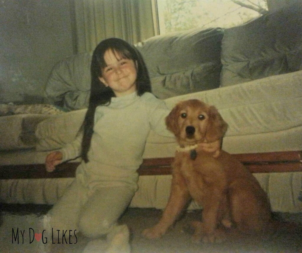 Rachael and her first dog - A beautiful Golden Retriever puppy named Abby!