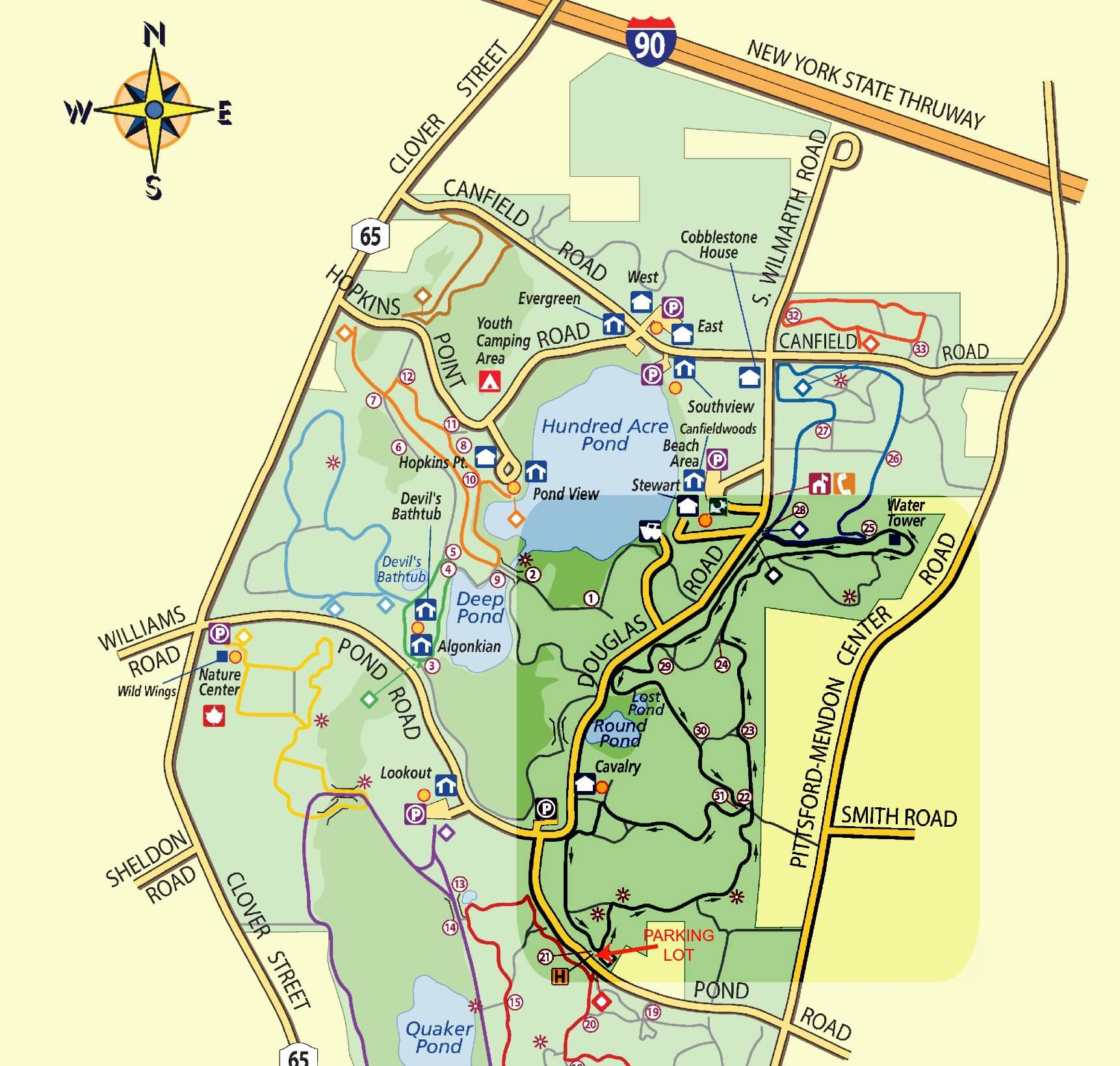 Mendon Ponds Park Map Dog Friendly Parks: Mendon Ponds Park