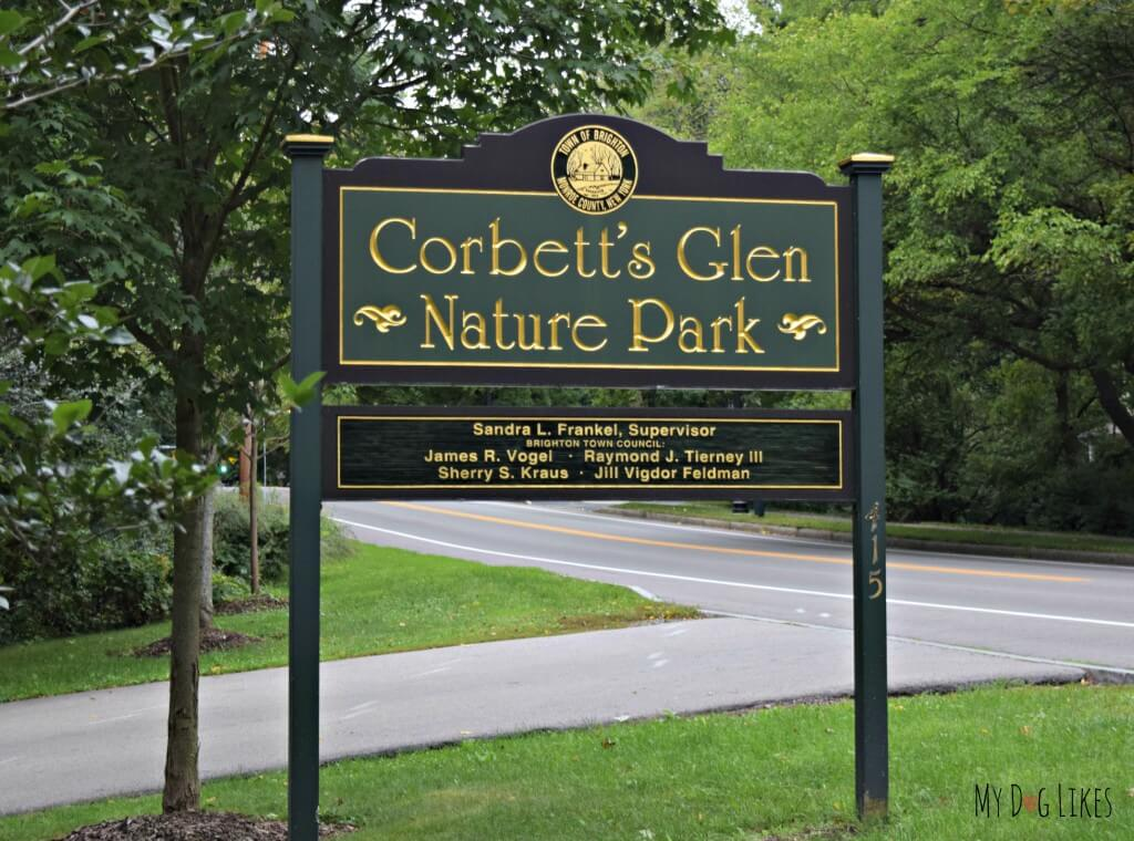 The Corbett's Glen Nature Park sign at the Penfield Road entrance