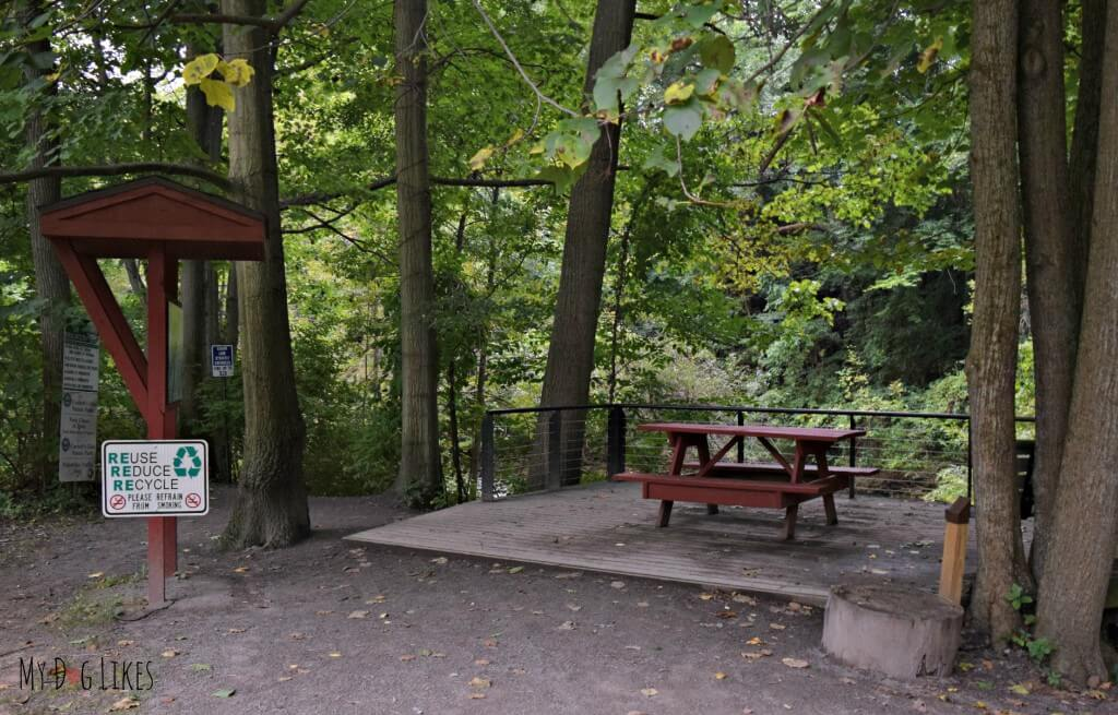 Picnic area overlooking Postcard Falls at Corbett's Glen in Rochester, NY