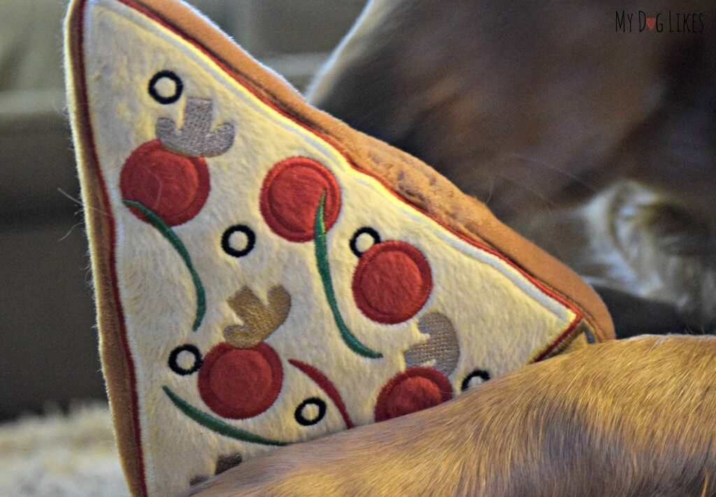 A closeup of the PrideBites Pizza dog toy. This toy is a great combination of softness and durability.