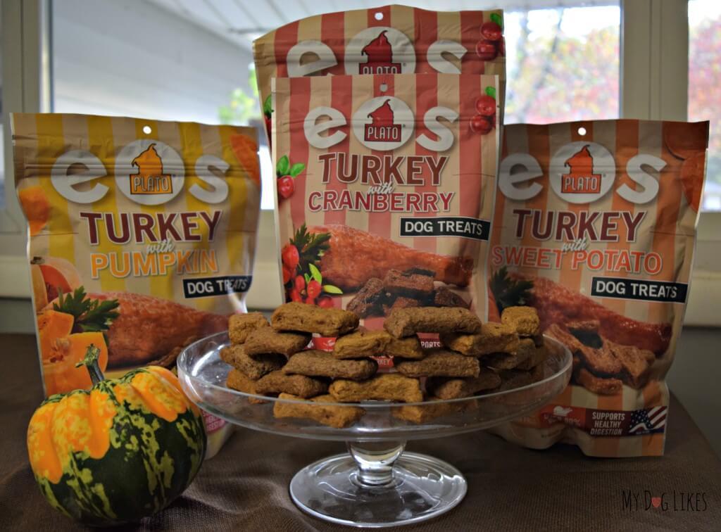 The three festive flavors of Plato EOS Dog Treats - Turkey with Pumpkin, Cranberry or Sweet Potato