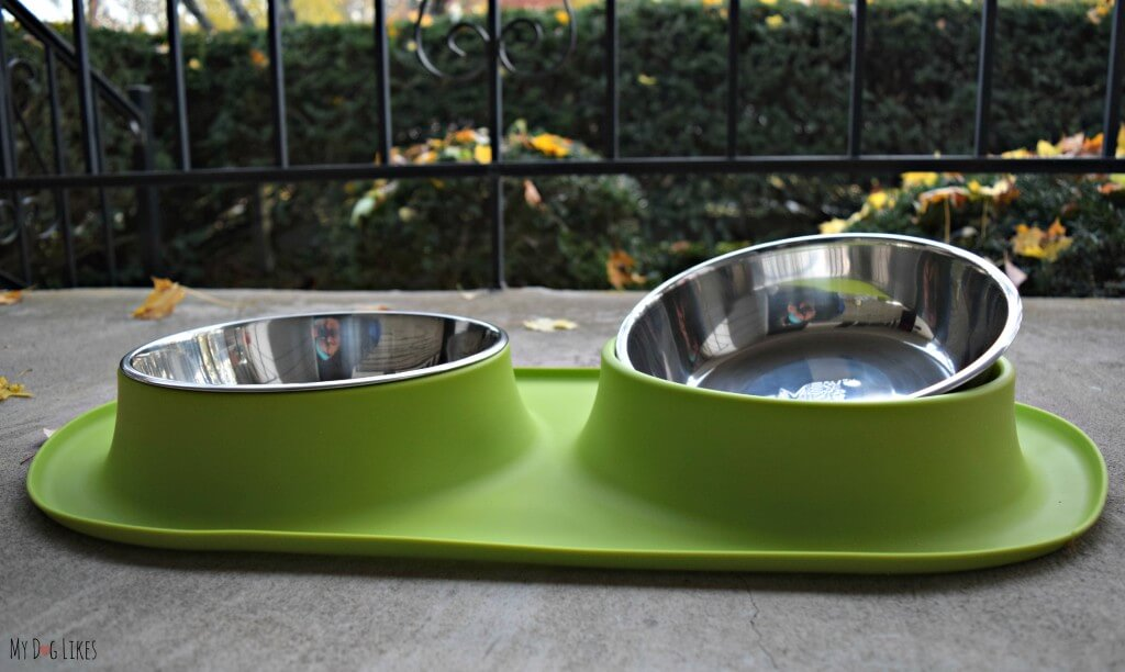 The Messy Mutts silicone double feeder has removable bowls