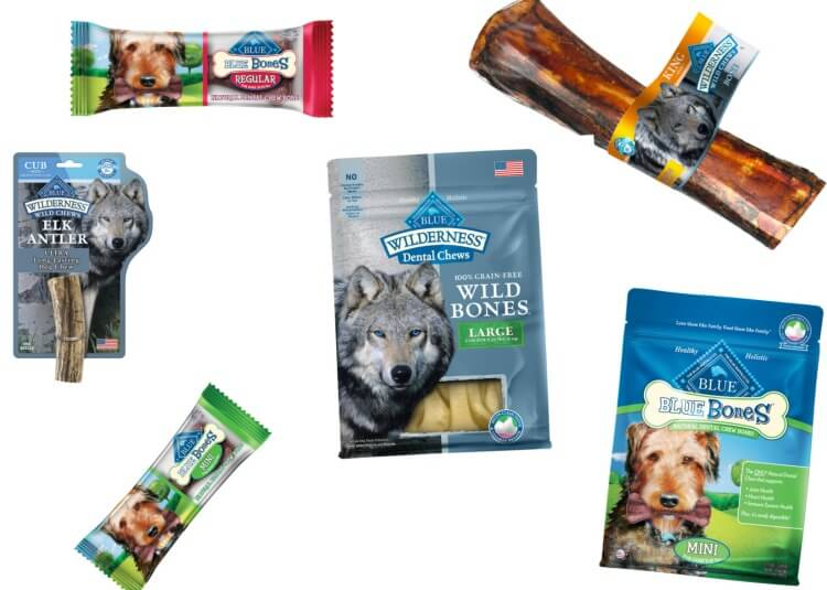 MyDogLikes reviews BLUE Bones dog dental chews. Pictured is a sampling of the available BLUE Dog Treats