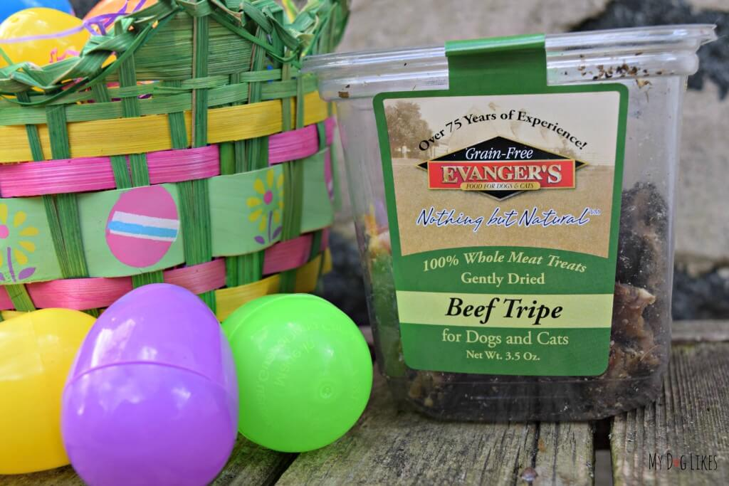 Strongly scented Evanger's tripe was the perfect thing to use for our dog Easter Egg Hunt!