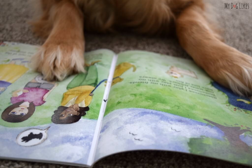 Our dog Charlie reading a book!