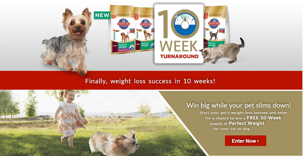 Hills Perfect Weight dog food is sponsoring a 10 week turnaround event where your dog could win a free 10 week supply!