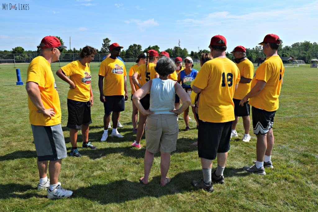 The Rochester Redwings Beep Baseball team strategizing for the next game
