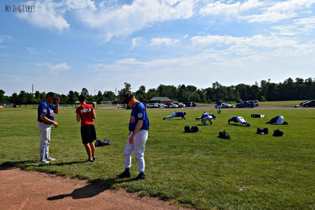Athletes stretching before a game at the NBBA World Series in Rochester, NY!