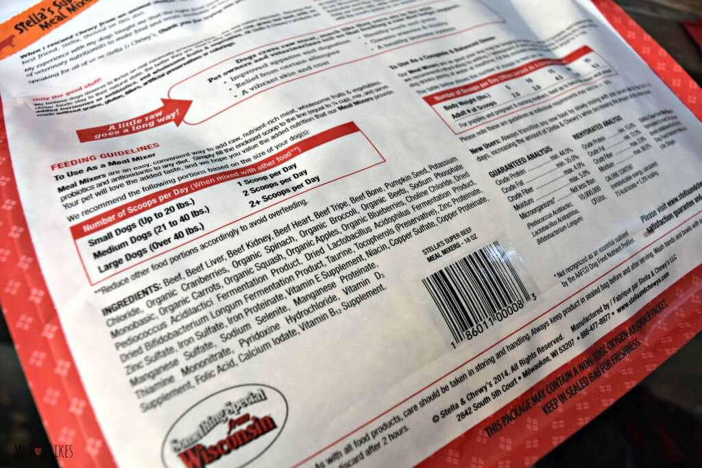 A quick look at the ingredient label shows you that Stella and Chewys is some of the best dog food around