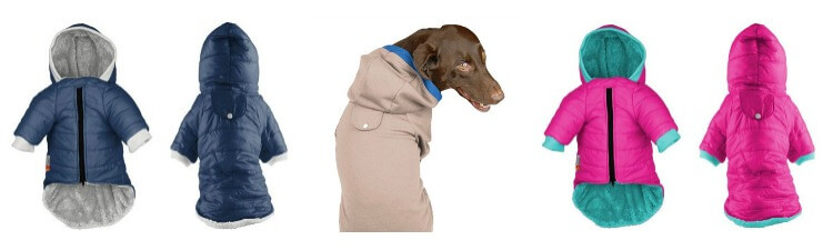 A selection of PrideBites Dog Coats and Hoodies