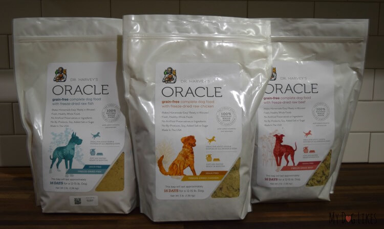 Taking a look at the new and improved Oracle Dog Food line - available in fish, chicken and beef