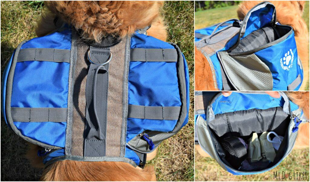Looking into our dog bug out bag from WhyWeWag - prepped and ready to go in an emergency.