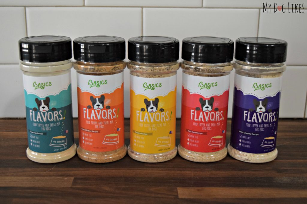 These powdered dog food toppers (FLAVORS) from Basics Brands will add some excitement to mealtime!
