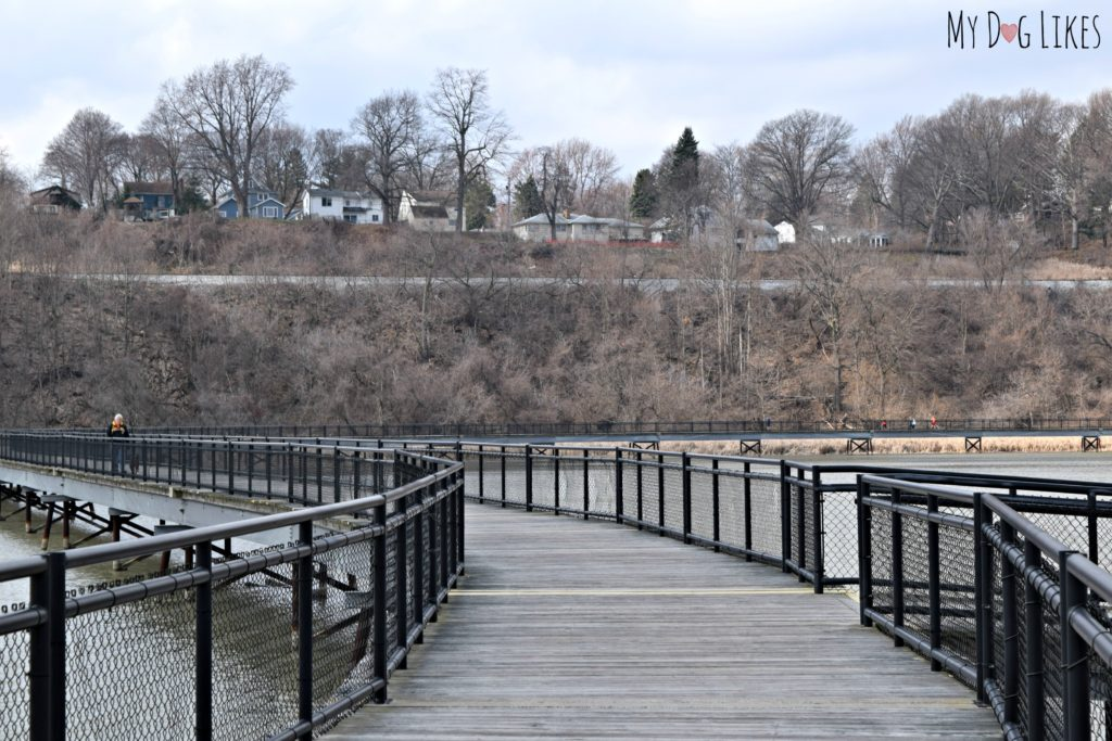 Looking down the impressive Turning Point Park Boardwalk which stretches over the Genesee River