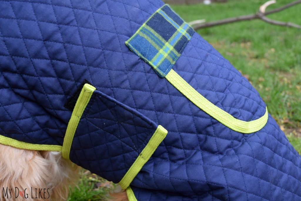 These dog coats remain secure via a thick velcro strap