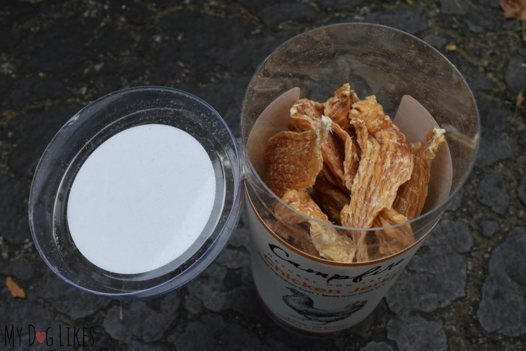 Campfire Treats Chicken Jerky comes in a completely recyclable/ reusable container